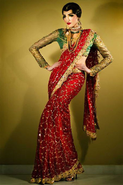 f3e1e81504 The choli is dark green color with beautiful net sleeves with golden  crystals and sequins work.