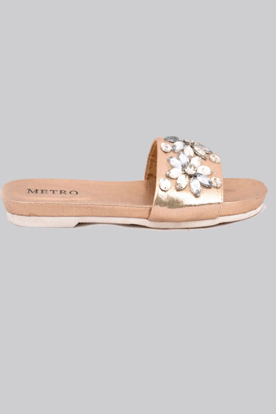 a5a69d7d2b12 These golden flats with floral crystals embedded on straps. These flats are  perfect for fancy wear. Product code  10450085. Price  PKR 2