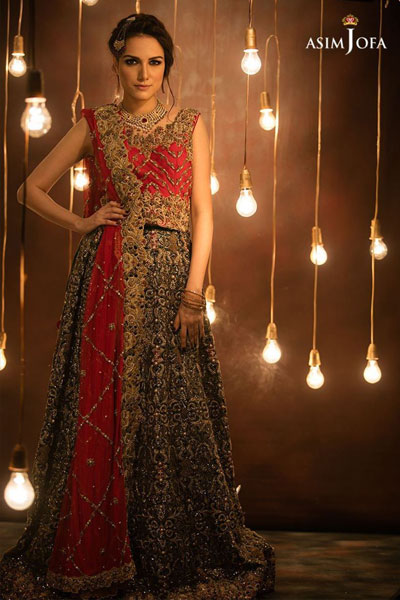 fec1351610 An incredible combination of emarald green cut worked lehenga and red top  beautified with patterns of sequins, pearls and cut work at the hemline and  daman, ...
