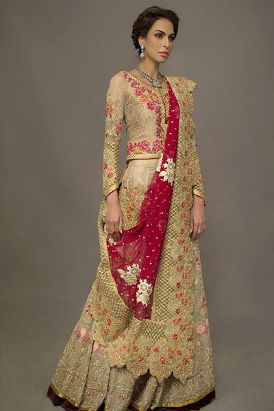 aa44e6806b Talking about next from Deepak Perwani's bridal collection is this atlas  koti styled top laden with intricate embroidery and paired up with a  lehenga done ...