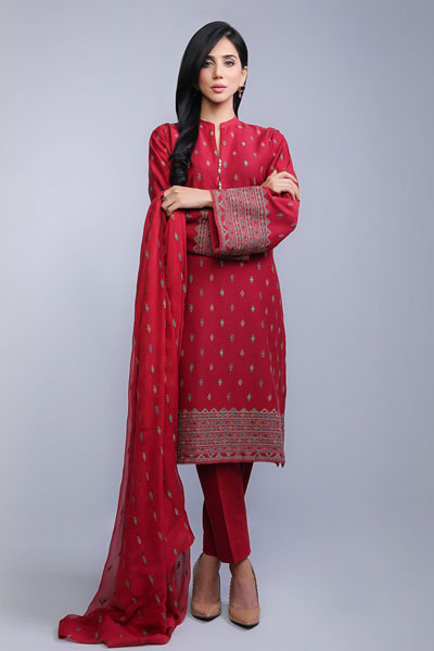 43463e8080 An ideal wear for the chilly winter eve, this red three-piece dress  includes a shirt that is laden with amazing booti embroidery all over, a  chiffon dupatta ...