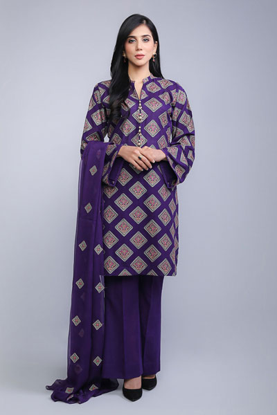 74557adb0e Welcome winters with this dark purple karandi lawn dress that consists of  fabulous multi-colored print completely covering the front and back of the  shirt.