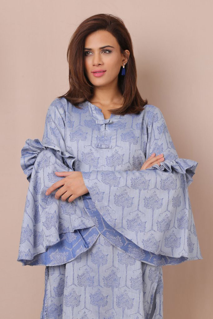 a868fa550f8 Looking for something different to wear to a party  Then this light steel  blue jacquard shirt might be the answer. A printed straight shirt with  round neck ...