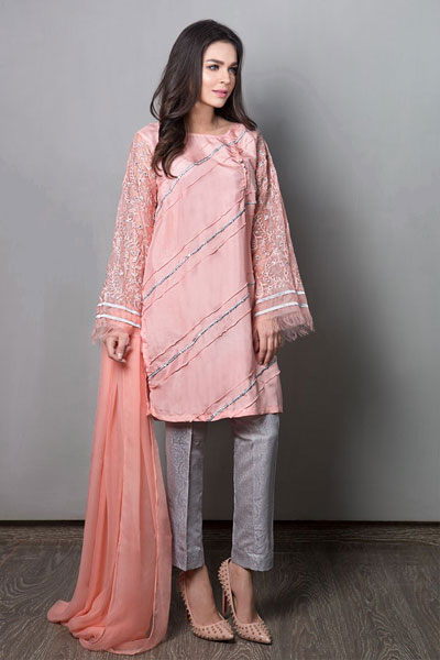 90fda2c0f0d01 Knee length peach silk kurta with plates and sequence detailing