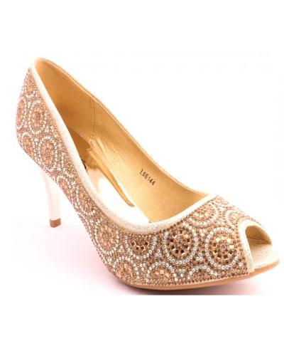 68ae0eacedb1 A fabulous pair of high heeled peep toes embellished with crystal in  intricate circular pattern