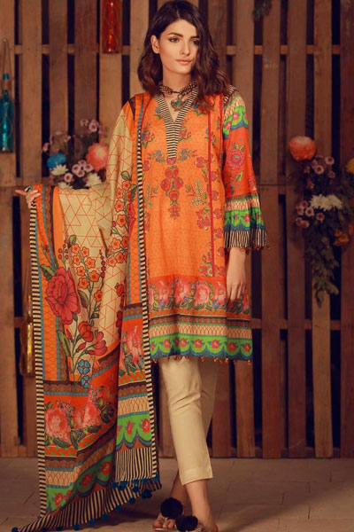 840db6ed89 Another jovial dress from Khaadi's summer lawn collection, having a  stunning orange colour and pinkish flowers printed on the shirt.